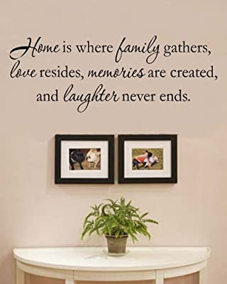 Home is where the family gathers, love resides, memories are created, and laughter never ends. Vinyl Wall Decals Quotes Sayings Words Art Decor Lettering Vinyl Wall Art Inspirational Uplifting