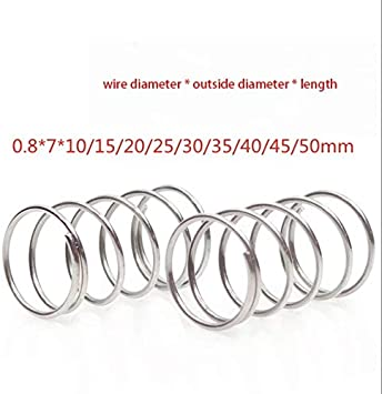NO LOGO ZDX-SPRING 10pcs 304 Stainless Steel Spring Pressure Spring Short Compression Spring Wire Diameter 0.8* Outside Diameter 7* Length 10-50 Size : 0.8X7X10mm