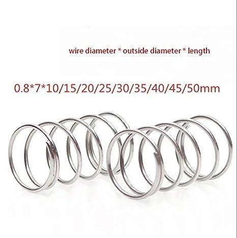 10 muelles de compresi/ón de 0,5 mm x 12 mm x 30 mm 304 de acero inoxidable.