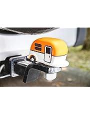 Camco Capa de engate Life is Better at The Campsite laranja | Protege sua bola de sujeira e ferrugem | Compatível com bolas de 4,2 cm e 5 cm de diâmetro (53236)