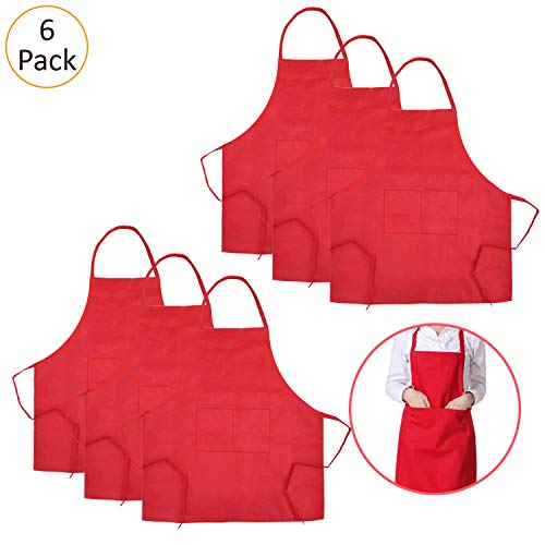 TRENDBOX 6 Pack Aprons for Women Men (Full Adult Size) Red Kitchen Aprons with 2 Pockets Durable Personalized Aprons for BBQ Kitchen Cooking Baking Crafting Restaurant