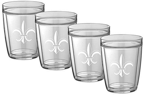 - Kraftware Kasualware Collection Fleur de Lis Doublewall Drinkware, 14 Ounce - Set of 4