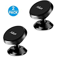 Car Mount Holder, by Aliun, [2Pack] Magnet Dashboard Mount, 360°Rotation Magnetic Phone Holder for iPhone/iPod/Samsung/LG/HTC/Nokia Smartphone,GPS,Sticks on Any Flat Surface[Black]
