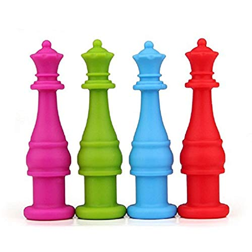 FDA-Approved Silicone Chewable Pencil Topper,Safe Chess Shaped,Perfect for Children Study with Pencil,Therapy Toys, Chewy Tubes, Fidgets, Oral Motor Chew,4 Pack(Purple, Green, Blue, Red)