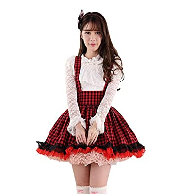 Hugme Red and Black Plaid Polyester Lace Lolita Suspender Skirt