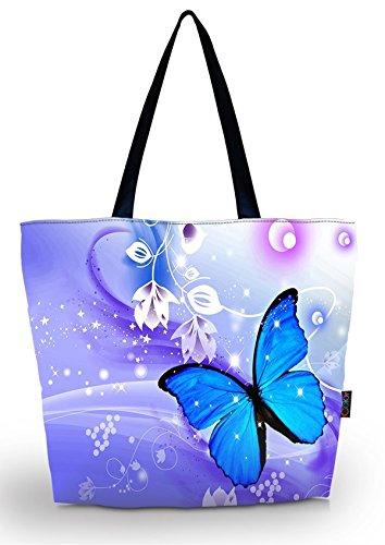 ICOLOR Blue Butterflies Portable Eco Reusable Eco-friendly Shopping Bag Handle case Bag School Shopping Large Grocery shoulder bag Reusable Portable Storage HandBags Convenient Shoppers Tote YGWB-34 ()