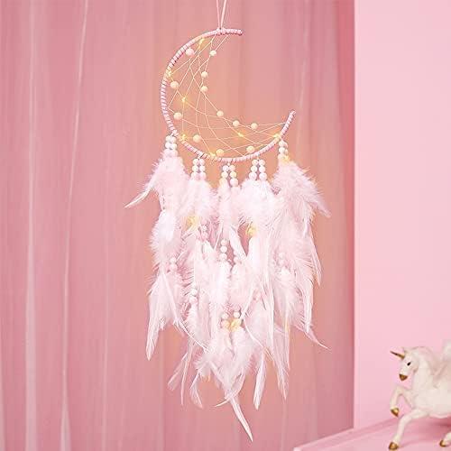 Xiangmall LED Dream Catcher Handgemaakte Dreamcatcher Veren voor Slaapkamer Bruiloft Thuis Muur Opknoping Decoraties Ornamenten Craft Roze