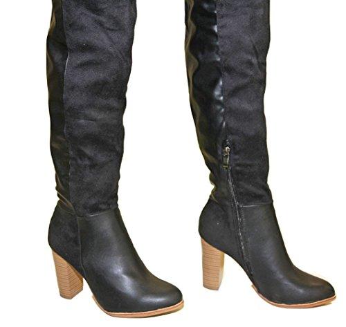 pelle sexy Suede materiale bi Stone Heel ultra cedric e Stivali nero alti Sexy zwFafEHq