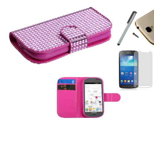For Samsung Galaxy Exhibit T599 (T-Mobile) PU Leather Flip Cover Folio Book Style Pouch Card Slot Myjacket Wallet Case + [WORLD ACC] TM Brand LCD Screen Protector + Silver Stylus Pen + Black Dust Cap Free Gift (Hot Pink Diamond Studded Bling) (Samsung Galaxy Exhibit Case Bling)