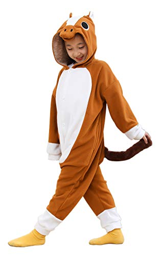 Kids Animal Plush Onesie Brown Horse Pajamas for Boys and Girls -