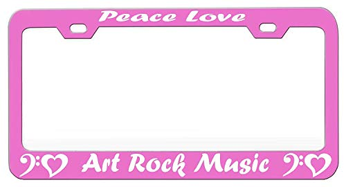 YEX Abstract Peace Love Art Rock Music Music and Instruments Pink License Plate Frame Car License Plate Covers Auto Tag Holder 6