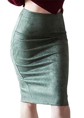 XiaoTianXin-women clothes XTX Womens Back Slit High Waist Slim Fit Faux Suede Midi Pencil Skirts