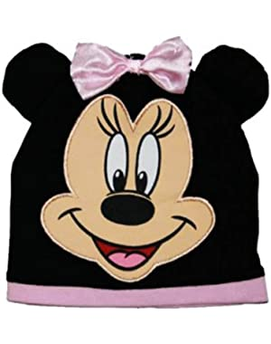 "Minnie Mouse ""Minnie Bow"" Black Infant Baby Beanie Hat (0-9M)"
