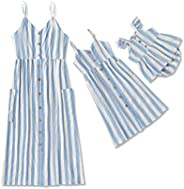 IFFEI Mommy and Me Matching Dress Spaghetti Strap Striped V Neck Button Down Linen Dress with Pockets for Moth
