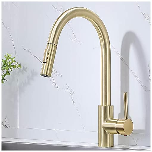 Kitchen Comllen Modern Commercial Single Handle Brushed Gold Pull Out Kitchen Faucet, Brass Kitchen Faucet Single Hole High Arc… modern sink faucets