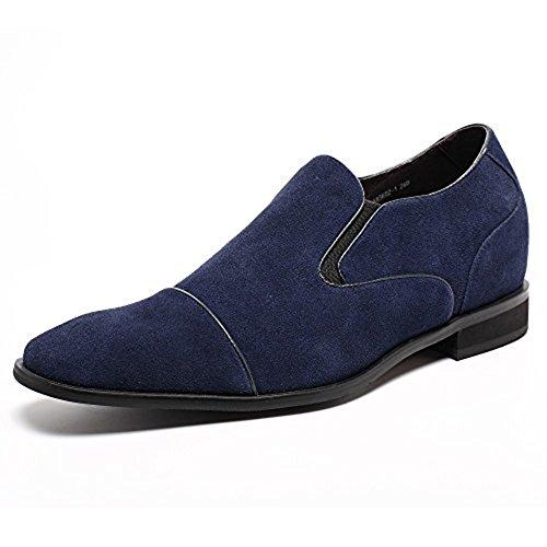 CHAMARIPA Zapatos Mocasines de Gamuza Hombre para ser 7 cm más alto - K65K02 Azul