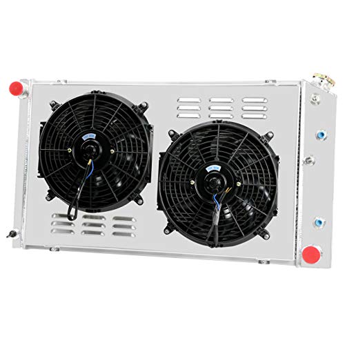"Primecooling 38MM 2 Row Aluminum Radiator +2X12"" Fan w/Shroud for Many GM Chevrolet Pontiac Buick C/K Series Multiple Models"