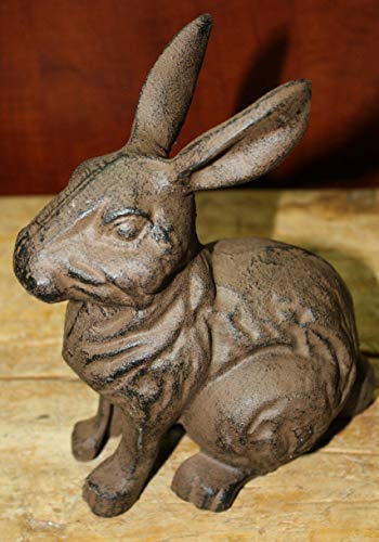 Home Decor Large Cast Iron Easter Bunny Garden Statue Yard Art Home Ranch Decor Rabbit Perfect for Your Farmhouse ()