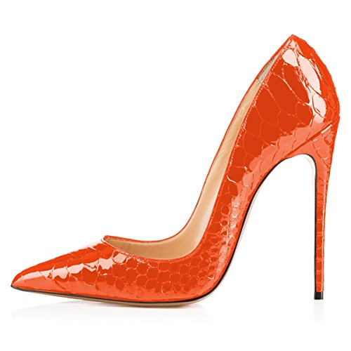 FSJ 15 High Sexy US Snake Orange Pointed Size 4 Stilettos Dress Women Shoes Slip On Pumps Heel Formal Toe XrZwX