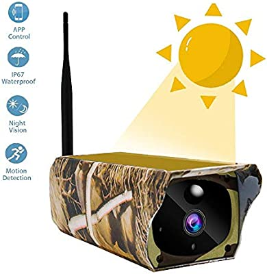 Solar Powered Wireless Security Camera lesgos 1080P WiFi IP Camera Alarm Alert /& PIR Motion Detection for iOS//Android IP67 Waterproof Outdoor Remote Control Camera with IR Night Vision
