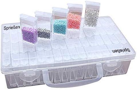 Sprießen 22.5x13.5x5.5CM 64 Rejillas de Diamante Caja de Bordado Ajustable Cajas de piezas de hilo de plástico blanco bobinas conjunto bordado hilo Bobinas con caja de almacenamiento