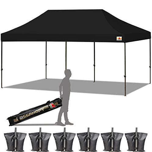 ABCCANOPY 23 Colors 10×20 Pop up Tent Instant Canopy Commercial Outdoor Canopy with Wheeled Carry Bag Bonus 6 Weight Bags Black