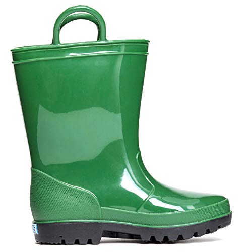 ZOOGS Kids Waterproof Rain Boots for Girls, Boys, and Toddlers Hunter Green, 8 Toddler
