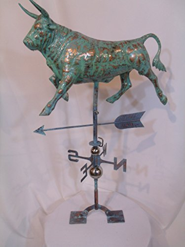 Furniture Barn USA Large Handcrafted 3D 3- Dimensional Cow Bull Weathervane Copper Patina Finish