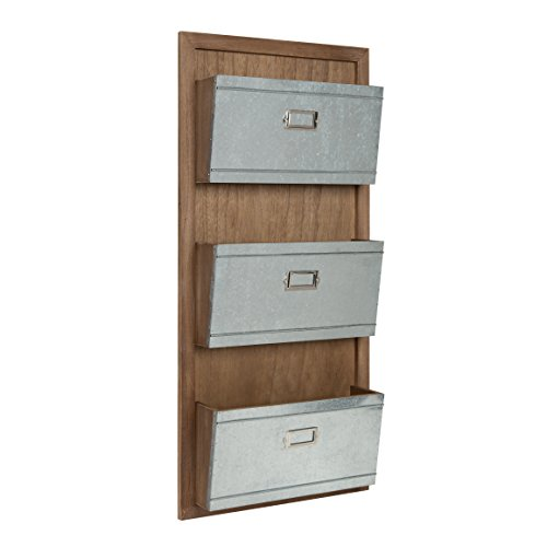 Kate and Laurel Industrious Wood 3 File Pocket Organizer, Rustic Brown and Galvanized Metal