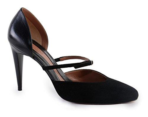 Max Mara Kvinna Designer Pumpar - Elegant Mocka Och Italienskt Läder - Bekväm Elegant Och Stödjande Svart