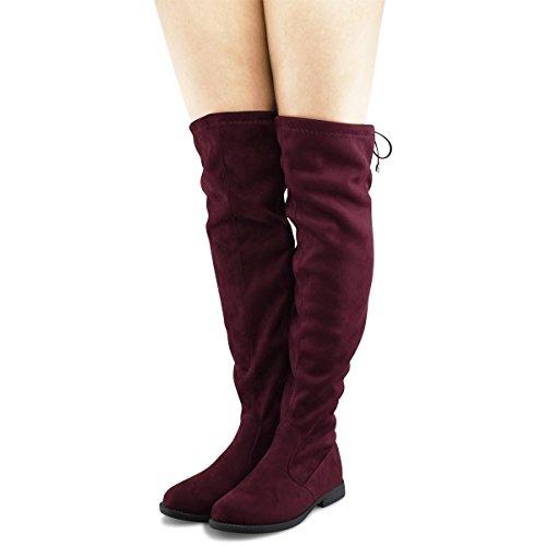 Premier Standard Damen Kniehohe Stretch Boot - Trendy High Heel Schuh - Sexy Overknee Pullon Boot - Komfortable Easy Heel Premier Wein Su