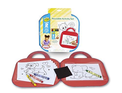 41YVj7o6jRL - Crayola Toddler Coloring Set, Reusable Activity Mat with Washable Crayons, Gift