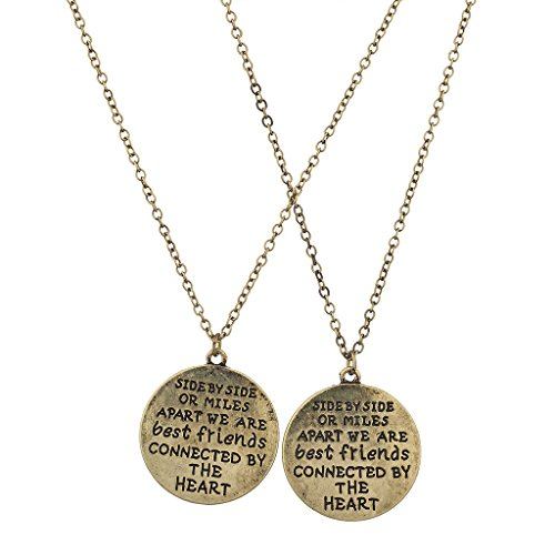 Lux Accessories Burnish Gold Side by Side Best Friends BFF Charm Necklace (2PCS)