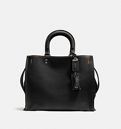 COACH 1941 Collection The Rogue Bag in Glovetanned Pebbled Leather in Black Copper / Black 38124
