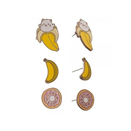 Crunchyroll Bananya 3 Pair Stud Earring Set w/Gift Box by Superheroes - Bananya 1 Episode