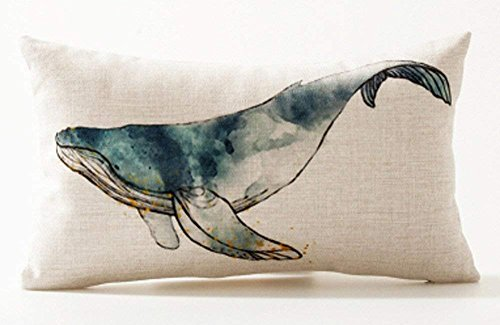 Humpback Whale - Andreannie Ink Painting Sea Animals Humpback Whale Marine Organisms Cotton Linen Waist Lumbar Pillow Case Cushion Cover Personalized Home Office Decorative Rectangle 12 X 20 Inches