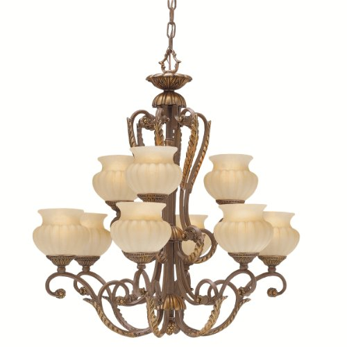 Kichler Lighting 1693BRL Eminence 9-Light Chandelette, Brelee with Cloudy Umber Glass - Traditional Chandelette