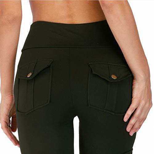 Solido Larghi Verde Casuale Donna Moda Comodi Pantaloni A S Stretti Colore Piedi Nero 1 verde xl Elastica Vita Matita RxWqqYn5