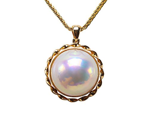 Mabe Pearl Necklace Pendant - JYX 18K Luxurious 16mm White Mabe Pearl Pendant Necklace