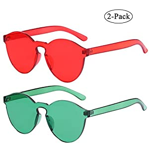 One Piece Rimless Sunglasses Transparent Candy Color Eyewear