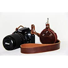 Clanmou Digital Camera Leather Neck Shoulder Strap A6300 A7II for Canon EOS M3 G7 X Fujifilm X100S Nikon J5 B700 P900s Samsung Gear 360 NX500 Shoulder Strap with Camera Lens Case Dark Brown