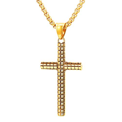 - Vintage Cross Pendant Necklace, FaithHeart Classic Grid Pattern Faith Charm 18K Gold Plated Christian Jewelry (Gold)
