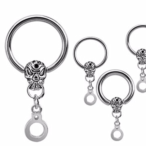 Dangle Captive Ring - Skull and Handcuff Dangle Freedom Fashion Captive Bead Ring 316L Surgical Stainless Steel (Sold Individually)