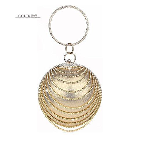 Gold amp;OS Chain Clutch Bag Banquet Party Evening Tote ZJ Women Bag Rhinestone Ball Wedding UBOwBqCd