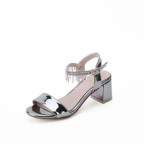 AllhqFashion Women's Kitten-Heels Soft Material Solid Buckle Open Toe Sandals Gray