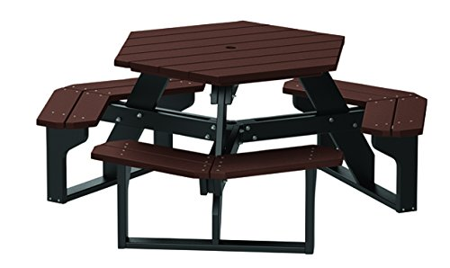 4' Recycled Plastic Hex Table - Seats 6 People - Black Frame - Brown