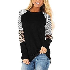 CNFIO Camisetas Mujer Manga Larga Leopardo Raya Cuello Redondo Blusas para Mujer Suelta Tops Mujer Fiesta | DeHippies.com