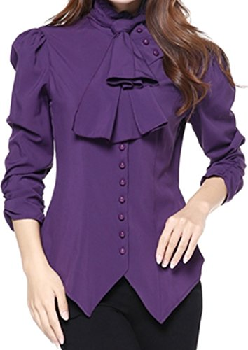 (XS-P28) Prime - Pearl Goddess - Purple Pearl Button Victorian Gothic Vintage Style Blouse Top (XS) ()