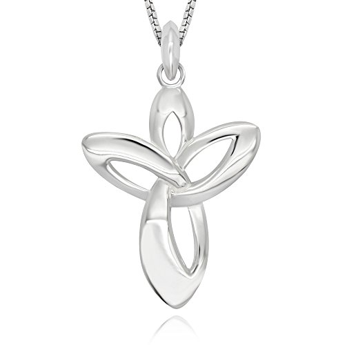 925 Sterling Silver Guardian Angel Cross Pendant Necklace 18