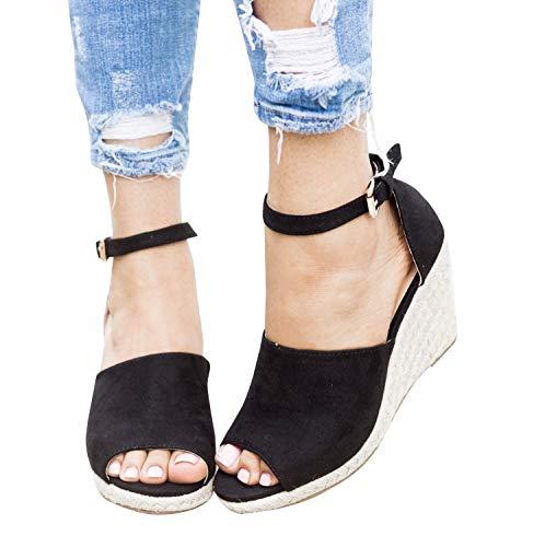 Syktkmx Womens Platform Wedge Sandals Suede Peep-Toe